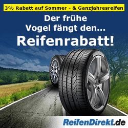 Machen Sie sich bereit für den Sommer! 3% auf Sommer- und Ganzjahresreifen bei reifendirekt.de!